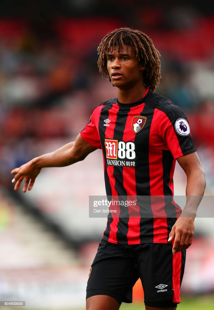 Nathan Ake of AFC Bournemouth in action during the pre-season friendly match between AFC Bournemouth and Valencia CF at Vitality Stadium on July 30, 2017 in Bournemouth, England.