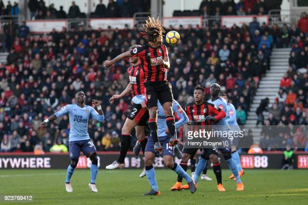 Nathan Ake of AFC Bournemouth jumps for a header during the Premier League match between AFC Bournemouth and Newcastle United at Vitality Stadium on...