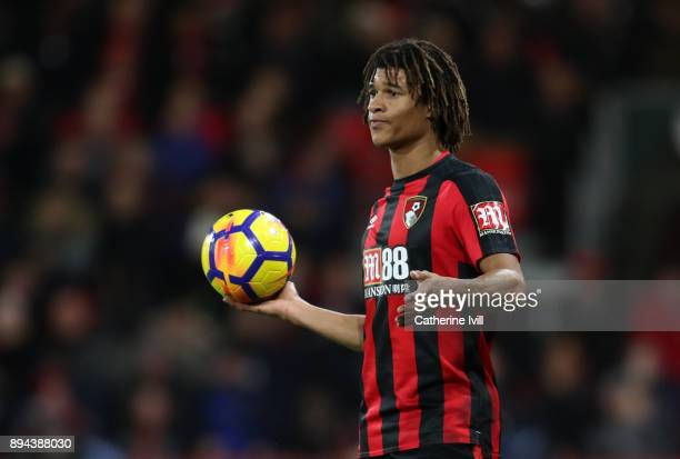 Nathan Ake of AFC Bournemouth prepares to take a throw in during the Premier League match between AFC Bournemouth and Liverpool at Vitality Stadium...