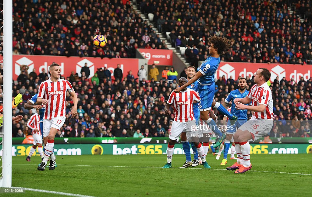 Nathan Ake of AFC Bournemouth (C) scores his sides first goal during the Premier League match between Stoke City and AFC Bournemouth at Bet365 Stadium on November 19, 2016 in Stoke on Trent, England.