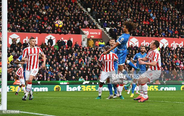 Nathan Ake of AFC Bournemouth scores his sides first goal during the Premier League match between Stoke City and AFC Bournemouth at Bet365 Stadium on...