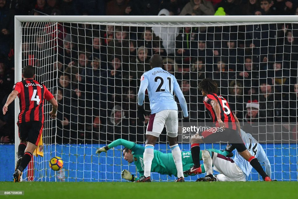 Nathan Ake of AFC Bournemouth scores his sides second goal during the Premier League match between AFC Bournemouth and West Ham United at Vitality Stadium on December 26, 2017 in Bournemouth, England.