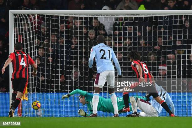 Nathan Ake of AFC Bournemouth scores his sides second goal during the Premier League match between AFC Bournemouth and West Ham United at Vitality...