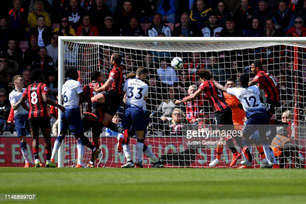 Nathan Ake of AFC Bournemouth scores his team's first goal during the Premier League match between AFC Bournemouth and Tottenham Hotspur at Vitality...
