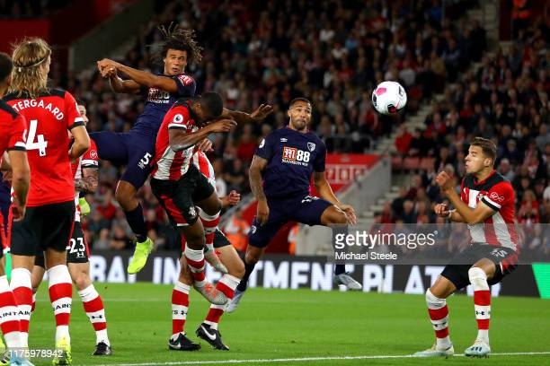 Nathan Ake of AFC Bournemouth scores his team's first goal during the Premier League match between Southampton FC and AFC Bournemouth at St Mary's...