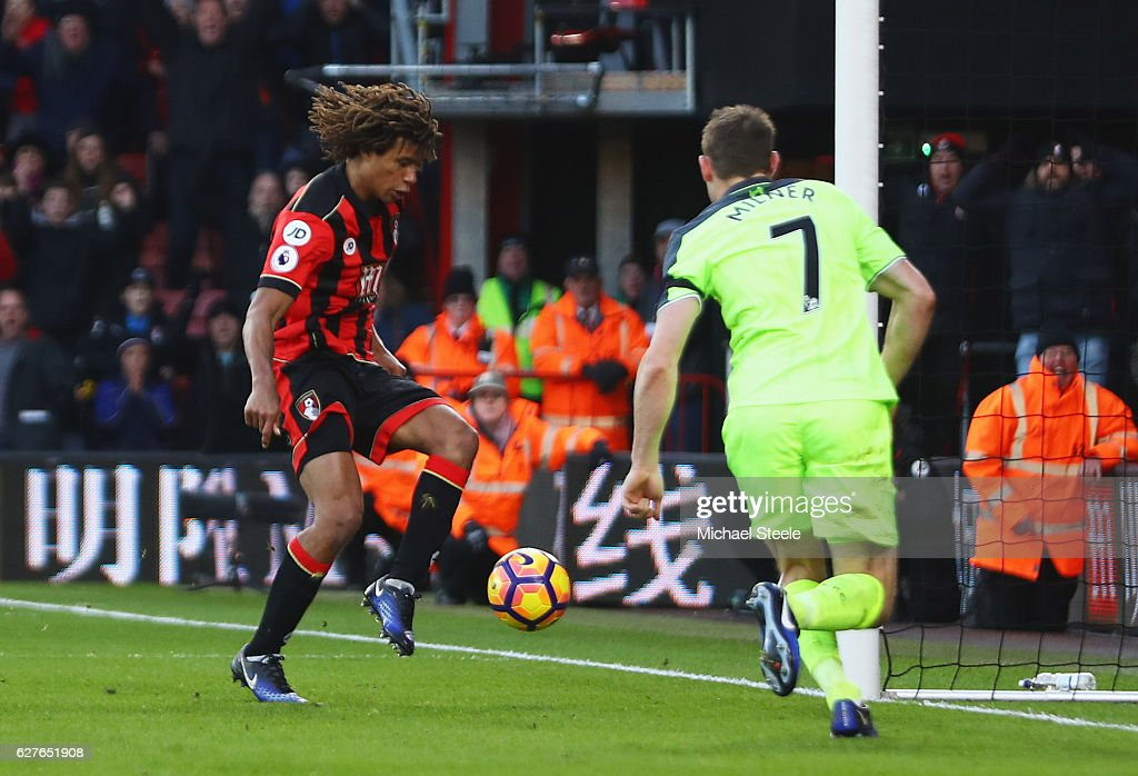 Nathan Ake of AFC Bournemouth scores their fourth goal during the Premier League match between AFC Bournemouth and Liverpool at Vitality Stadium on December 4, 2016 in Bournemouth, England.