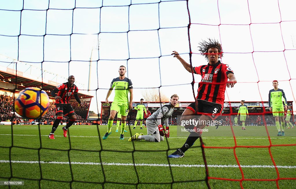 Nathan Ake of AFC Bournemouth (5) scores their fourth goal during the Premier League match between AFC Bournemouth and Liverpool at Vitality Stadium on December 4, 2016 in Bournemouth, England.
