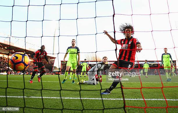 Nathan Ake of AFC Bournemouth scores their fourth goal during the Premier League match between AFC Bournemouth and Liverpool at Vitality Stadium on...