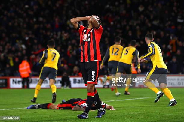 Nathan Ake of AFC Bournemouth shows his dejection after Arsenal's thid goal during the Premier League match between AFC Bournemouth and Arsenal at...