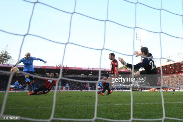 Nathan Ake of AFC Bournemouth with a last ditch tackle to deny Jonjo Shelvey scoring a third goal for Newcastle United during the Premier League...