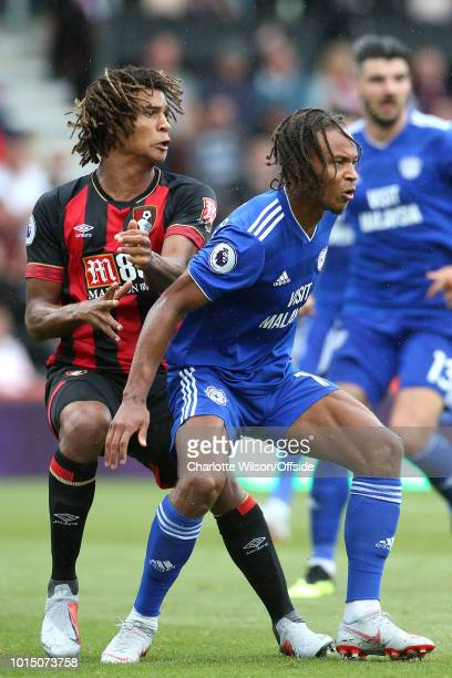 Nathan Ake of Bournemouth and Bobby Reid of Cardiff look for the ball during the Premier League match between AFC Bournemouth and Cardiff City at...
