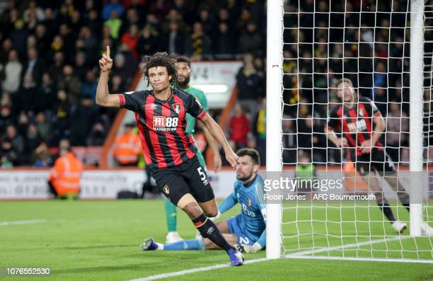 Nathan Ake of Bournemouth celebrates after he scores a goal to make it 21 during the Premier League match between AFC Bournemouth and Watford FC at...