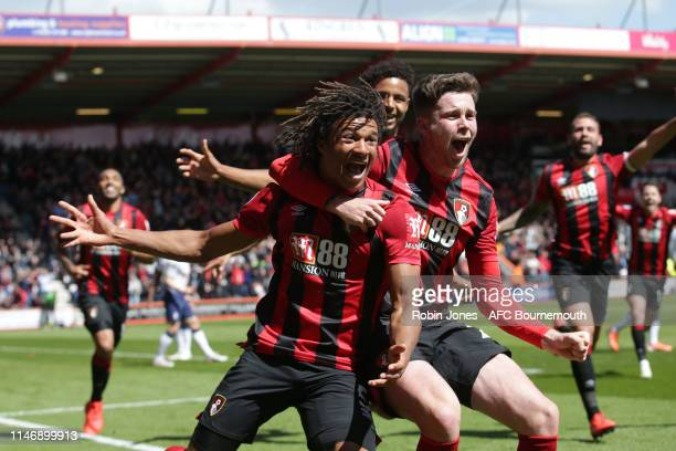 Nathan Ake of Bournemouth celebrates after he scores a goal to make it 1-0 during the Premier League match between AFC Bournemouth and Tottenham...