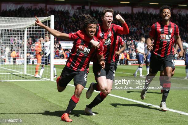 Nathan Ake of Bournemouth celebrates after he scores a goal to make it 1-0 with Jack Simpson during the Premier League match between AFC Bournemouth...
