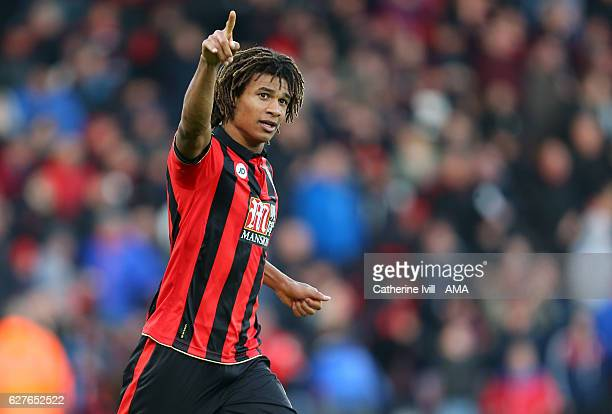 Nathan Ake of Bournemouth celebrates after he scores a goal to make it 43 during the Premier League match between AFC Bournemouth and Liverpool at...