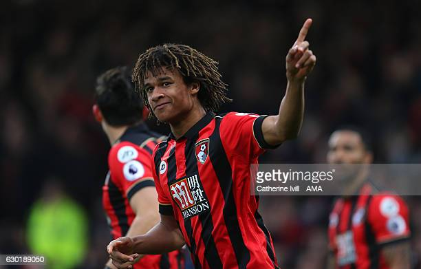 Nathan Ake of Bournemouth celebrates after he scores to make it 10 during the Premier League match between AFC Bournemouth and Southampton at...