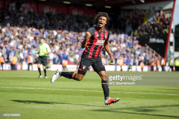 Nathan Ake of Bournemouth celebrates after scoring a goal to make it 22 during the Premier League match between AFC Bournemouth and Everton FC at...
