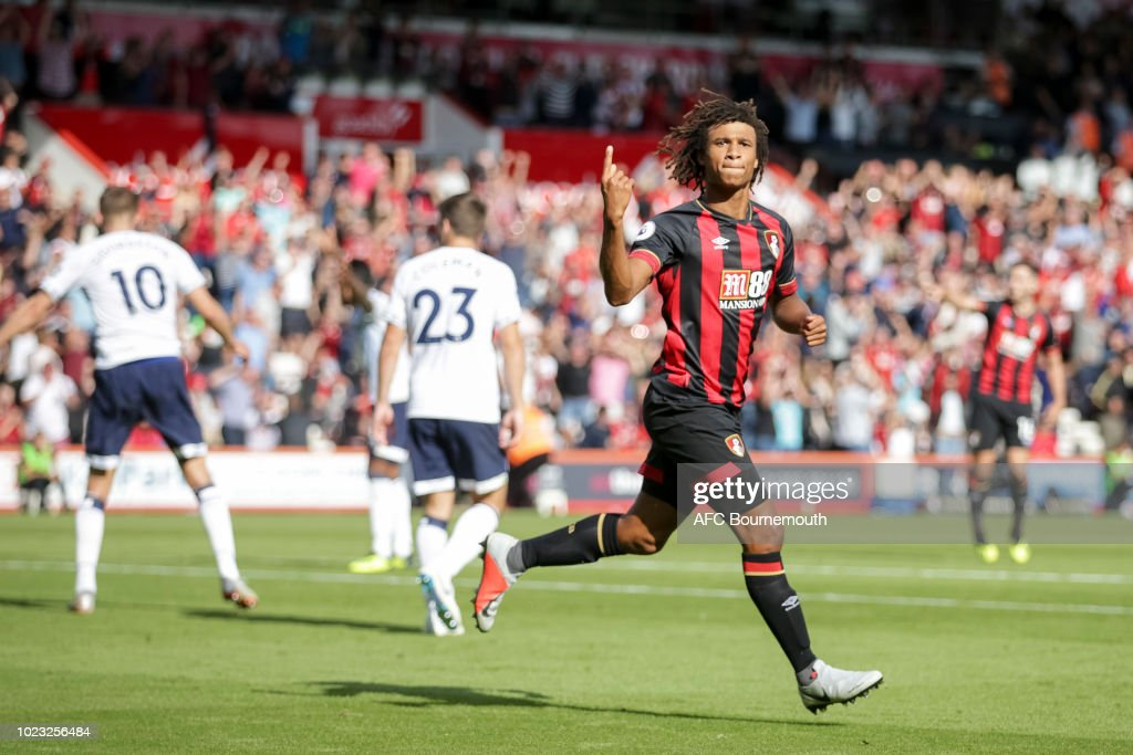Nathan Ake of Bournemouth celebrates after scoring a goal to make it 2-2 during the Premier League match between AFC Bournemouth and Everton FC at Vitality Stadium on August 25, 2018 in Bournemouth, United Kingdom.