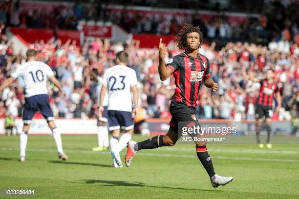 Nathan Ake of Bournemouth celebrates after scoring a goal to make it 2-2 during the Premier League match between AFC Bournemouth and Everton FC at...