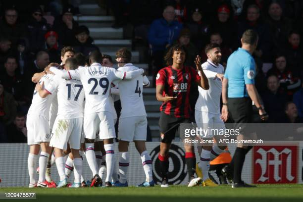 Nathan Ake of Bournemouth complains to Referee Andre Marriner after Marcos Alonso of Chelsea scores a goal to make it 1-0 during the Premier League...