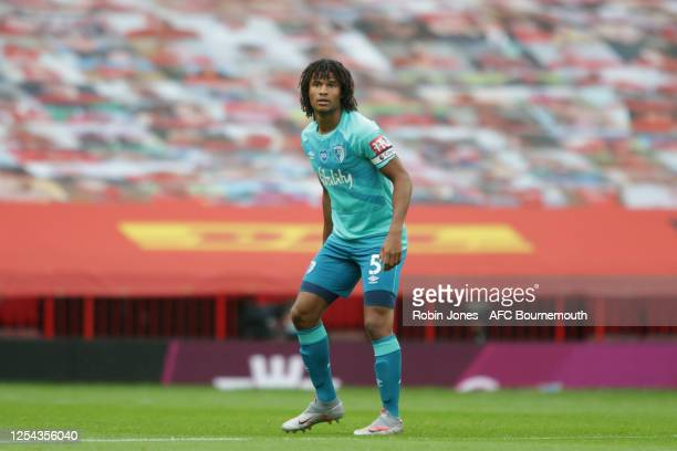 Nathan Ake of Bournemouth during the Premier League match between Manchester United and AFC Bournemouth at Old Trafford on July 04, 2020 in...