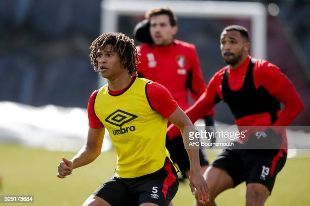 Nathan Ake of Bournemouth looks on during an AFC Bournemouth training session on March 7 2018 in Bournemouth England
