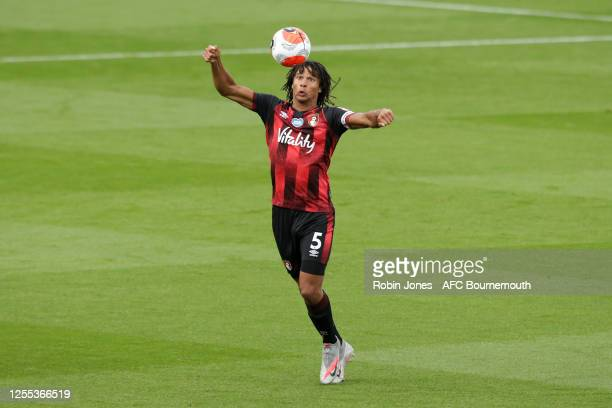 Nathan Ake of Bournemouth on the ball during the Premier League match between AFC Bournemouth and Tottenham Hotspur at Vitality Stadium on July 09,...