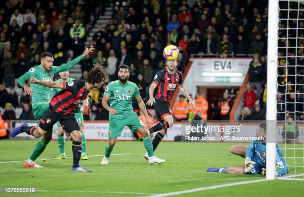 Nathan Ake of Bournemouth scores a goal to make it 21 during the Premier League match between AFC Bournemouth and Watford FC at Vitality Stadium on...