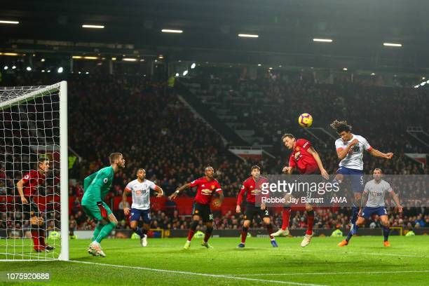 Nathan Ake of Bournemouth scores a goal to make it 31 during the Premier League match between Manchester United and AFC Bournemouth at Old Trafford...