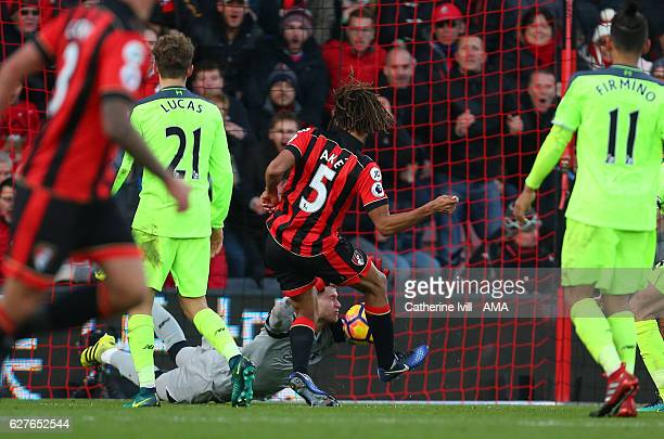 Nathan Ake of Bournemouth scores a goal to make it 43 during the Premier League match between AFC Bournemouth and Liverpool at Vitality Stadium on...
