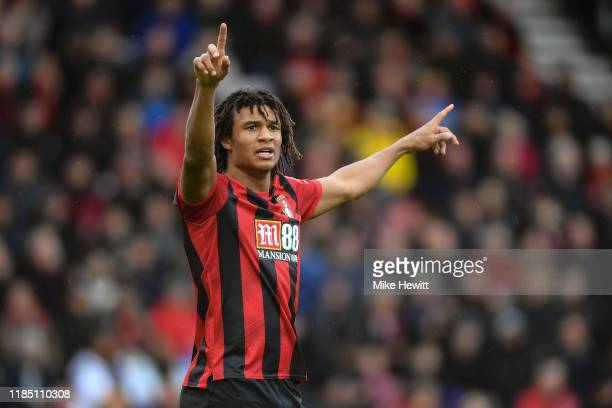 Nathan Ake of Bournemouth signals during the Premier League match between AFC Bournemouth and Manchester United at Vitality Stadium on November 02...