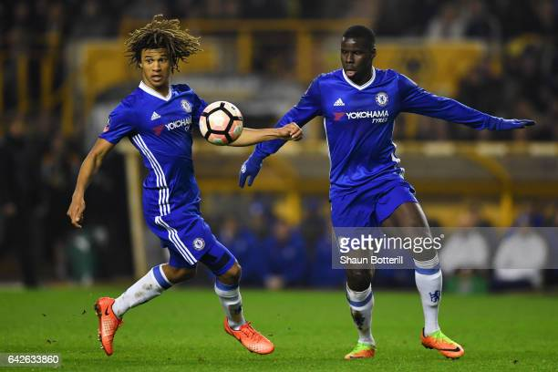 Nathan Ake of Chelsea and Kurt Zouma of Chelsea look at the ball during The Emirates FA Cup Fifth Round match between Wolverhampton Wanderers and...