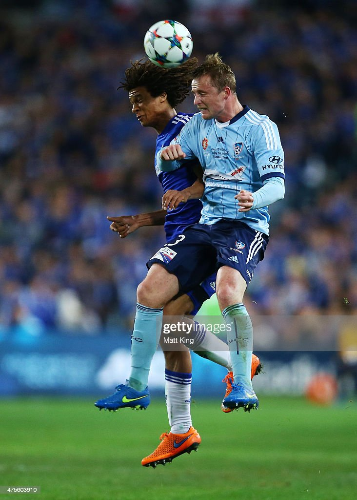 Nathan Ake of Chelsea and Rhyan Grant of Sydney FC competes for the ball during the international friendly match between Sydney FC and Chelsea FC at ANZ Stadium on June 2, 2015 in Sydney, Australia.