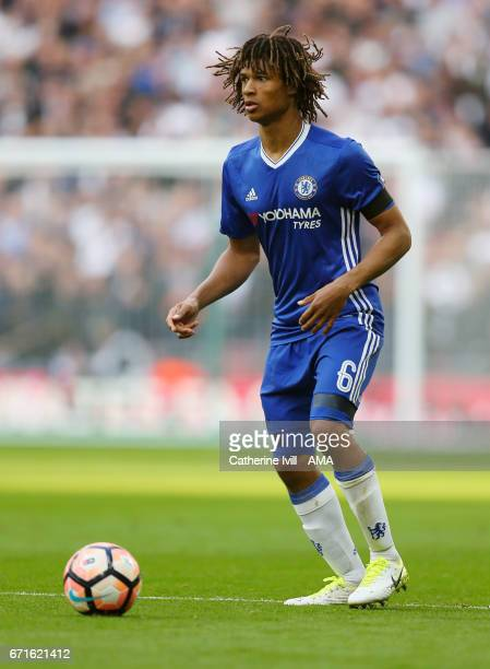 Nathan Ake of Chelsea during the Emirates FA Cup semifinal match between Tottenham Hotspur and Chelsea at Wembley Stadium on April 22 2017 in London...