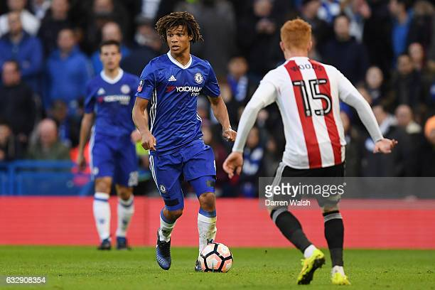 Nathan Ake of Chelsea in action during the Emirates FA Cup Fourth Round match between Chelsea and Brentford at Stamford Bridge on January 28 2017 in...