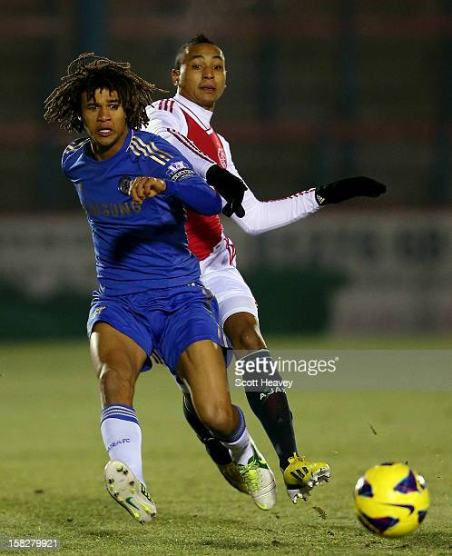 Nathan Ake of Chelsea in action with Kenny Tete of Ajax during the NextGen Series match between Chelsea U19 and Ajax U19 on December 12 2012 in...