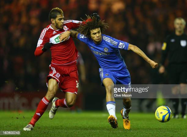 Nathan Ake of Chelsea is tackled by Faris Haroun of Middlesbrough during the FA Cup with Budweiser Fifth Round match between Middlesbrough and...