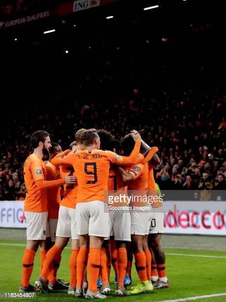 Nathan Ake of Holland celebrates 20 with Davy Propper of Holland Luuk de Jong of Holland Matthijs de Ligt of Holland Georginio Wijnaldum of Holland...