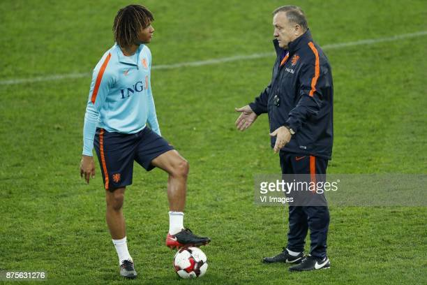 Nathan Ake of Holland coach Dick Advocaat of Holland during a training session prior to the friendly match between Romania and The Netherlands on...