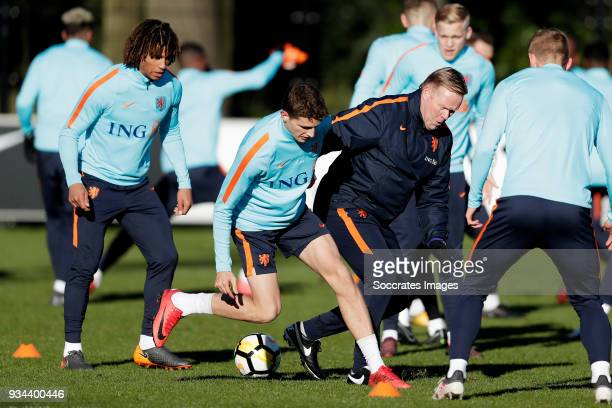 Nathan Ake of Holland Guus Til of Holland coach Ronald Koeman of Holland during the Training Holland at the KNVB Campus on March 19 2018 in Zeist...