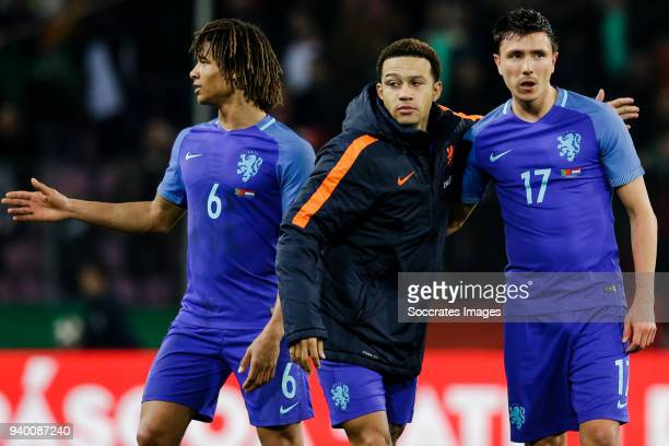 Nathan Ake of Holland Memphis Depay of Holland Steven Berghuis of Holland during the International Friendly match between Portugal v Holland at the...