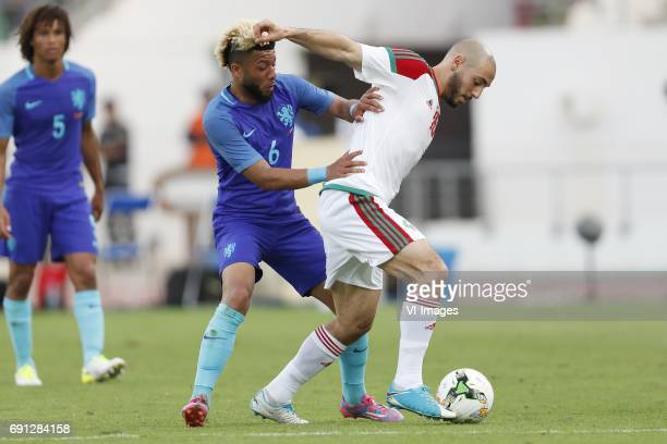 Nathan Ake of Holland Tonny Vilhena of Holland Nordin Amrabat of Moroccoduring the friendly match between Morocco and The Netherlands at Grand Stade...