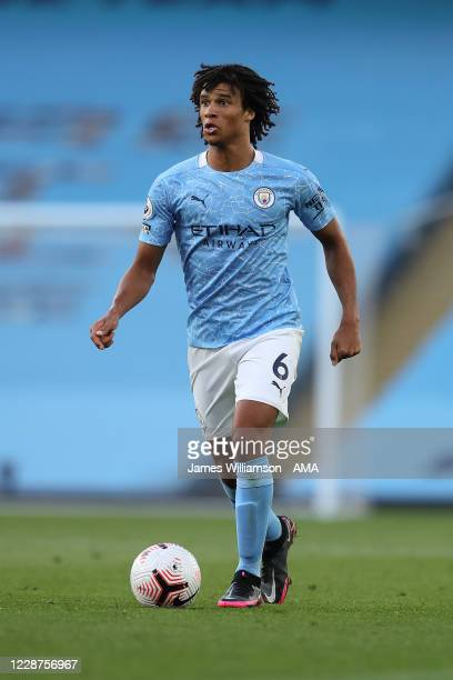 Nathan Ake of Manchester City during the Premier League match between Manchester City and Leicester City at Etihad Stadium on September 27 2020 in...