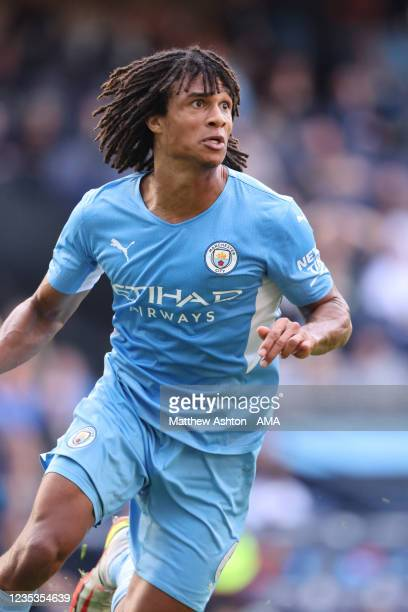 Nathan Ake of Manchester City during the Premier League match between Manchester City and Southampton at Etihad Stadium on September 18, 2021 in...