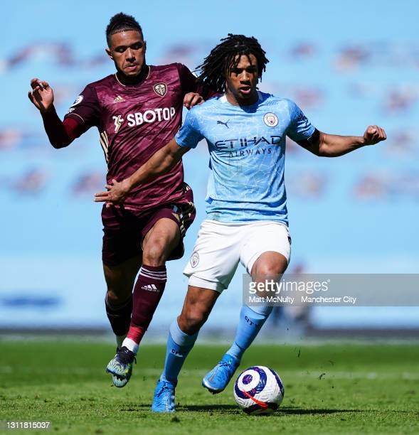 Nathan Ake of Manchester City in action during the Premier League match between Manchester City and Leeds United at Etihad Stadium on April 10, 2021...