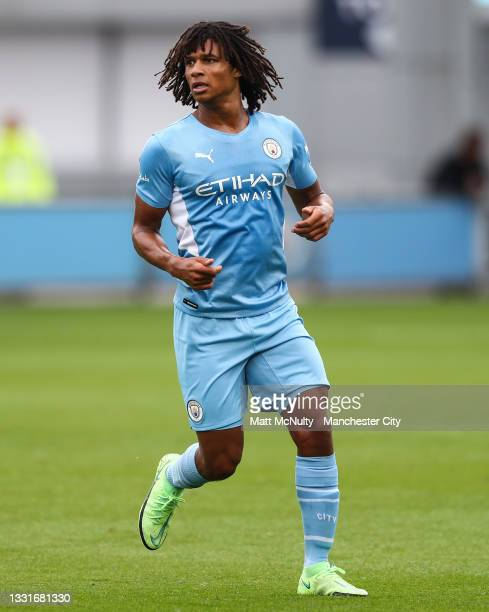Nathan Ake of Manchester City in action during the pre-season friendly match between Manchester CIty and Barnsley at Manchester City Football Academy...