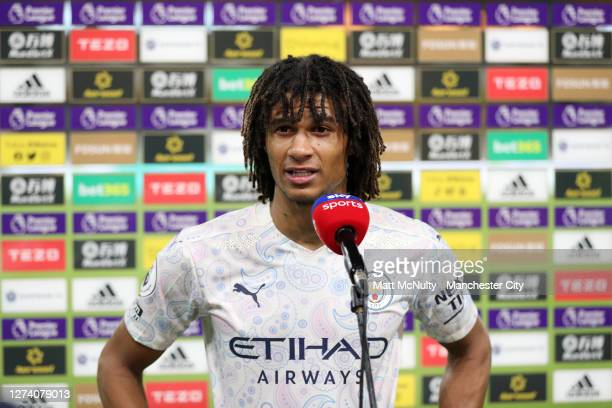 Nathan Ake of Manchester City is interviewed by Sky Sports after the Premier League match between Wolverhampton Wanderers and Manchester City at...