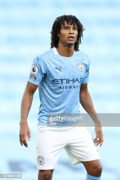 Nathan Ake of Manchester City looks on during the Premier League match between Manchester City and Leicester City at Etihad Stadium on September 27,...