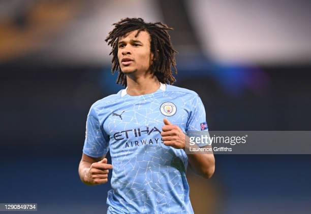Nathan Ake of Manchester City looks on during the UEFA Champions League Group C stage match between Manchester City and Olympique de Marseille at...