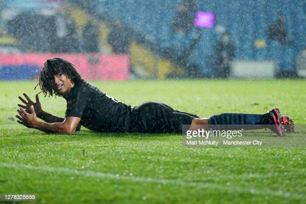 Nathan Ake of Manchester City reacts during the Premier League match between Leeds United and Manchester City at Elland Road on October 03, 2020 in...